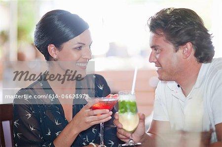 Couple having drinks at restaurant