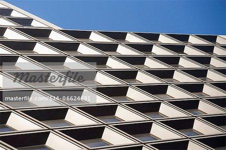 Tilted view of skyscraper windows