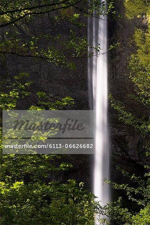 Waterfall in green rural landscape