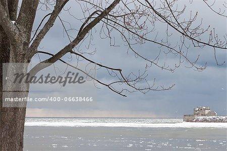 Fort Niagara seen from Niagara on the Lake in winter