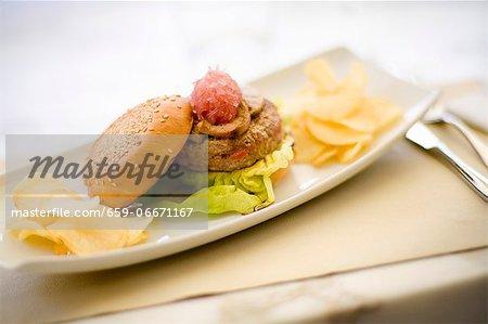 Gourmet hamburger with foie gras and crisps