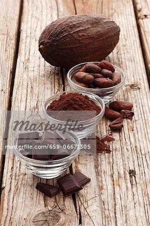 Chocolate squares, cocoa powder, cocoa beans and a cocoa pod