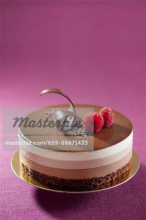 Three-layer chocolate torte with raspberries