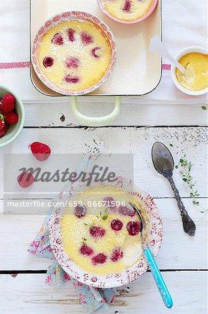 Natillas (vanilla dessert, Spain) with raspberries