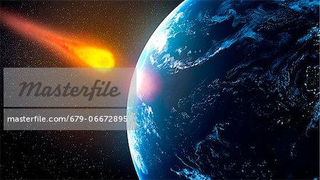 Near-Earth asteroid, computer artwork.