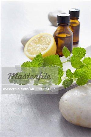 Sprig of lemon balm, fresh herbs, lemon and bottles of essential oil for aromatherapy