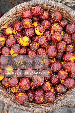 South America, Brazil, Para, Belem, Amazon, buriti fruit for sale at the morning acai market outside the Ver o Peso market