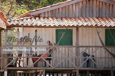 South America, Brazil, Para, Amazon, Marajo island, locals in a caboclo village near Soure
