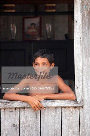 South America, Brazil, Para, Amazon, Marajo island, a local boy from a caboclo village near Soure