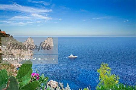 Italy, Campania, Napoli district, Capri. Faraglioni.