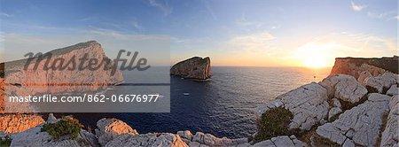 Italy, Sardinia, Sassari district, Alghero, Capo Caccia, characteristic white cliffs of Capo Caccia
