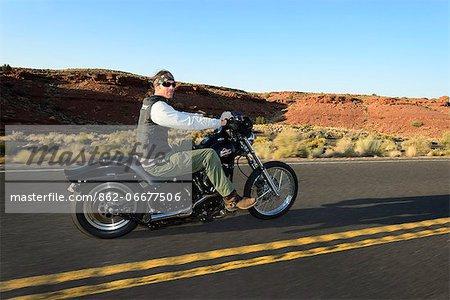 Man riding Motorbike, Flagstaff, Arizona, USA