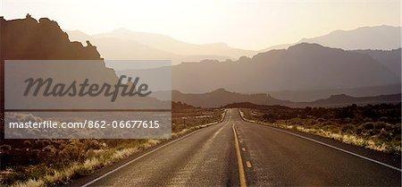 Highway and desert  landscape, near the town of Hanksville, Southeast Utah, along highway 95, Colorado Plateau,  Utah, USA