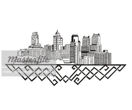 Philadelphia, PA Skyline. Black and white vector illustration EPS 8.