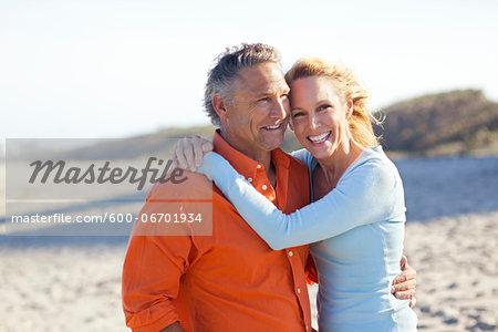 Portrait of Mature Couple on Beach, Jupiter, Palm Beach County, Florida, USA
