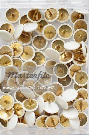 close-up of group of white and gold thumbtacks