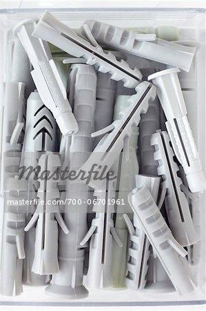 close-up of white wall plugs
