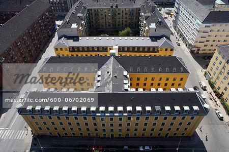 Apartment buildings seen from above.  Copenhagen, Denmark