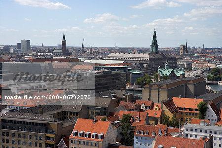 View over central Copenhagen, Denmark