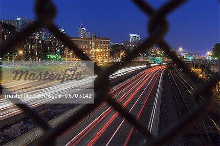 Streaks of traffic lights on the street at night, Mass Avenue, Berkeley Street, Boston, Massachusetts, USA