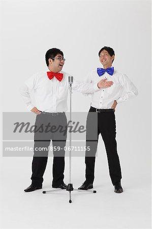 Comedians performing