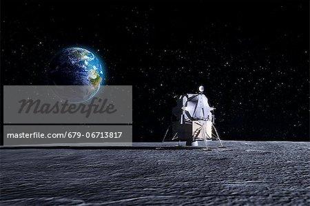 Apollo Moon landing. Computer artwork of the original Apollo mission lunar lander on the Moon.