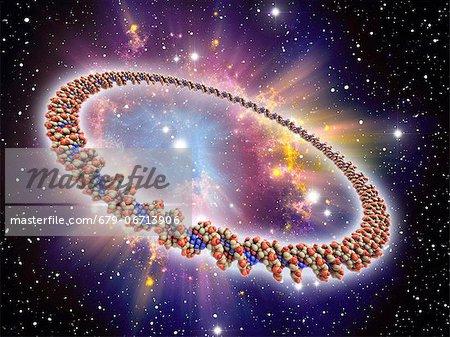 Circular DNA (deoxyribonucleic acid) molecule, computer artwork and space nebula artwork, depicting origin of life.