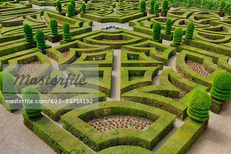 Elevated view of formal hedged garden of Villandry castle. The renaissance castle is famous for its gardens, created from 16th century designs. UNESCO World Heritage Site. Villandry Castle, Chateau de Villandry, Indre-et-Loire (Department), Loire Valley, France.