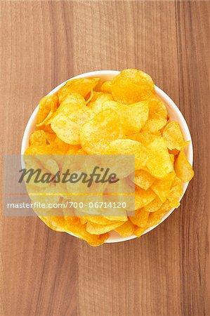 still life of potato chips in bowl