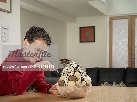 Boy eating large bowl of ice cream