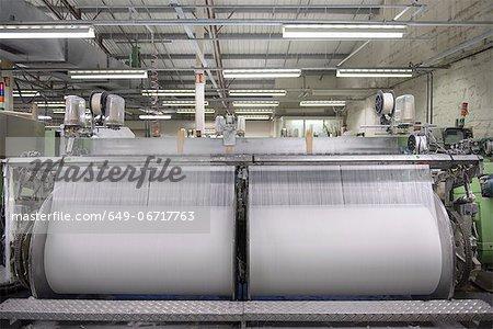 Thread on loom in textile mill
