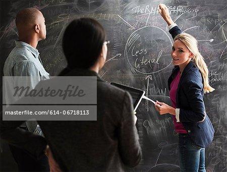 Woman writing on blackboard, colleagues watching