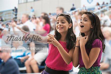 Adoring girls at pop concert