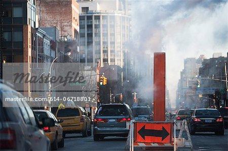Traffic sign on city street