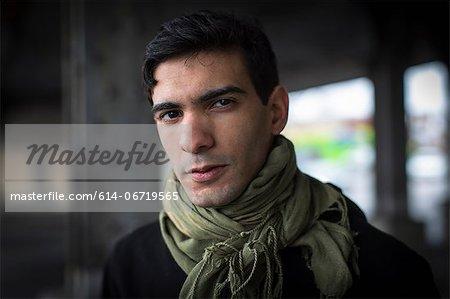 Man wearing scarf outdoors