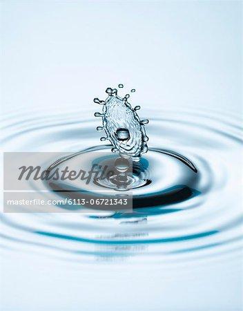 Close up of splashing water droplet