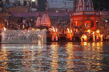 Evening prayer (Aarti) at Har Ki Pauri, River Ganges, Haridwar, Uttarakhand, India