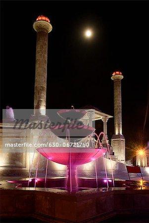 Memorial lit up at night, Amar Jawan Jyoti, Jaipur, Rajasthan, India
