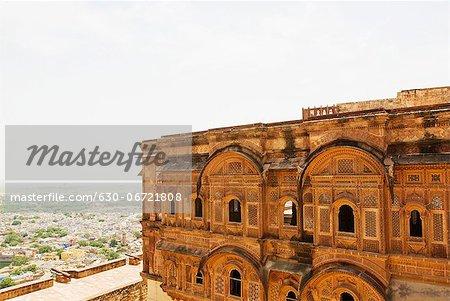 Fort with cityscape, Meherangarh Fort, Jodhpur, Rajasthan, India