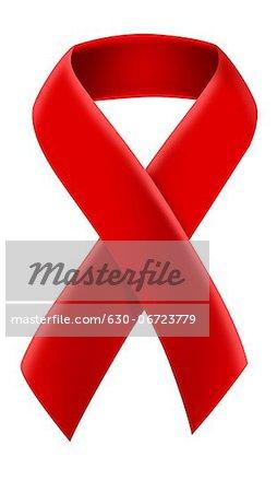 Close-up of AIDS awareness ribbon