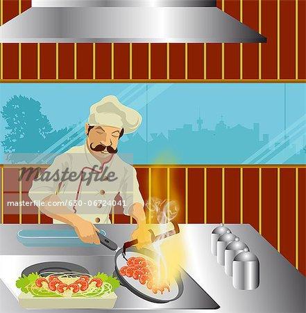 Male chef preparing food