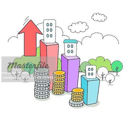 Illustration of economic growth concept