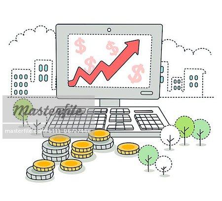 Financial growth on desktop pc