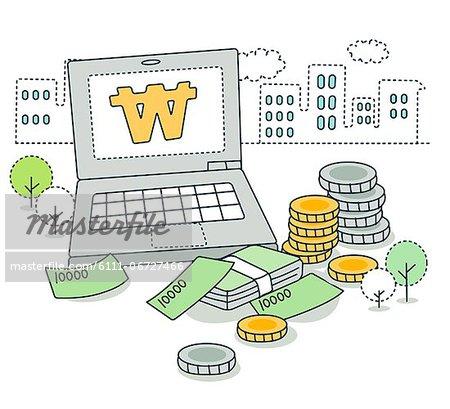 Illustration of financial concept through laptop