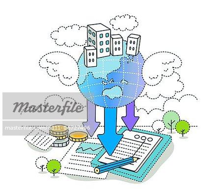 Business information written on document