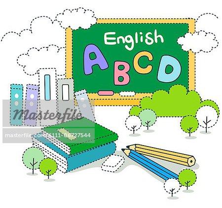 School blackboard with books and pencil