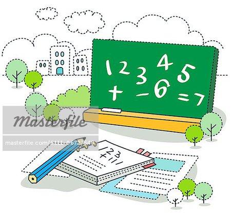 Math symbols on blackboard