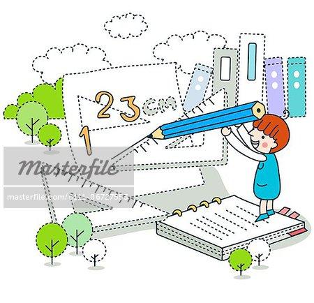 Schoolgirl learning mathematics on paper