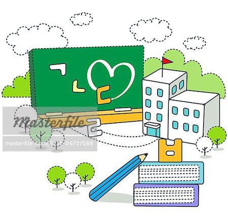School building with blackboard