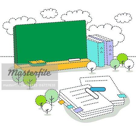 Illustration of blackboard with books